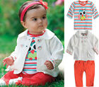 Infant Baby Girl's Boy Long Sleeve Coat Clothes+T-shirt Tops+Pants Outfit Sets