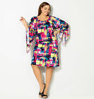 Avenue Abstract Plaid Trumpet Sleeve Dress