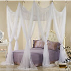 Bed canopy heavy netting curtain 8 door hook queen California king size white image