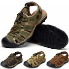 Mens Leather Casual Closed Toe Walking Sandals Summer Beach Outdoor Sports Shoes