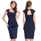 Women's Retro Vintage Cap Sleeve Sexy Back Pleated Pencil Cocktail Prom Dress