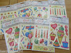 Birthday/Party Embossed Stickers Sheets  (E Box 12)