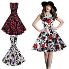 Women Floral 50s 60s Pinup Housewife Party Vintage Rockabilly Swing Dresses New