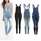 Women Skinny Fit Button Up Ripped Knee Stonewashed Denim Dungarees Jean Jumpsuit