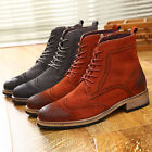 US Size 5-11 Suede Leather Dress Mens Oxfords Ankle Boots Shoes & Free Cufflink