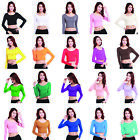 Womens Clothes Ladies Long Sleeve Crop Top Crew Neck tights Short T Shirt Blouse
