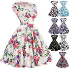 Floral Pattern Vintage 1950s V-Neck Retro Cotton Party Evening Housewife Dress