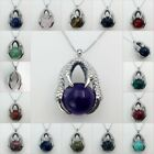 Natural Silver Dragon Claw Wrap Ball Beads Reiki Gemstone Pendant Necklace Hot