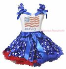 4th July USA Flag White Cotton Top Patriotic Star Pettiskirt Girl Cloth Set 1-8Y