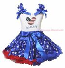 4th July USA Flag Minnie White Top Patriotic Star Pettiskirt Girl Outfit 1-8Year