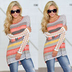 Sexy Women Ladies Floral Lace Stripe Long Sleeve Loose Casual T-Shirt Blouse Top