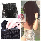 Full Head Afro Kinky Curly Clip in Human Hair Extensions 10pcs/set 120g Clip Ins