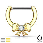 Crystal Centered Ribbon Surgical Steel Nipple Clicker Shield Bar Barbell 14ga