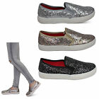 Womens Flats Ladies New Glitter Trainers Pumps Skater Skate Casual Shoes Size