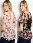 NWT sexy LACE Open BACK Sheer BLACK/IVORY Floral PLUS SIZE Top 1X-2X-3X
