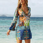 New Summer Women Casual Swimwear V Collar Long Sleeve Floral Printed Mini Dress