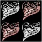 3 x Tibetan Style Large Heart Charms Pendants Silver or Red Copper Plated 39mm
