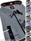 Men's BIG size Striped Cotton Shirt Double Collar Formal Casual Long Sleeve