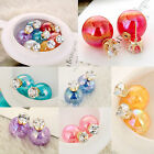 Crackle Glass Style Double Pearl STUD earrings Tribal Multi Color 2 way Lot
