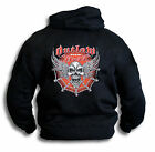Biker Outlaw From Hell Wings Skull Barbed Wire Mens Hoodie Rear Print Sm - 2XL