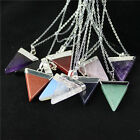 Gemstone Crystal Silver Plated Triangle Pendants Necklace Natural Quartz Stones