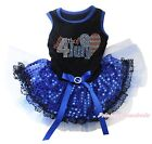 4th July Rhinestone USA Flag Heart Black Top Blue Sequins Lace Pet Dog Dress Bow