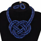 Sparkling crystal Choker stardust mesh twirled light weight chain Jewellery Set