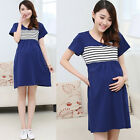2016 Summer Fashion Pregnant Woman's Short Sleeve Stripe Maternity Dress Q1220
