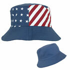 New Something Special Cotton American Flag USA Reversible Bucket Hat