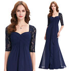 New Womens 1/2 Sleeve Chiffon Long Bridesmaid Dresses Formal Party Evening Gown