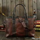 Men's Leather Crazy Horse Vintage Laptop Bags Briefcase Messenger Shoulder Bags