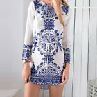 Summer Sexy Women Long Sleeve Party Dress Evening Cocktail Casual Mini Sundress