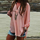 NEW Women's Loose Long Sleeve Chiffon Casual Blouse Shirt Tops Fashion Blouse