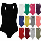 New Ladies Womens Sleeveless Racer Back Stretch Bodysuit Vest Top Leotard