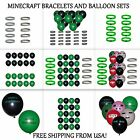 minecraft creeper party supplies - Minecraft Bracelets Creeper ~ Diamond and Happy Birthday Balloons, Party Favors