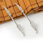 2PCS  Angel Wings Feather Body Nipple Bar Barbell Piercing Ring 14G Jewelry