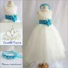 Lovely Ivory/turquoise blue pageant wedding flower girl party dress all sizes