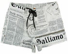 "JOHN GALLIANO ""Newspaper 1O"" mens surf board shorts swim trunks (white) NEW"