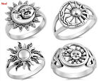 Sterling Silver 925 PRETTY SUN MOON DAY AND NIGHT BAND SILVER RINGS SIZES 5-10