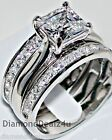 14k White Gold 925 Sterling Silver 3PC Princess cut Wedding Band Set Womens 5-9