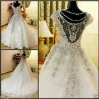 Luxury White/Ivory Wedding Dresses Bling Crystal Bridal Ball Gowns Custom Size