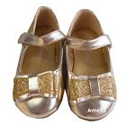Girls Sparkle Bow Gold Shoes