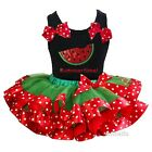 Green Red Polka Dots Satin Trimmed Tutu Sparkle Summertime Outffit