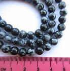 "Snowflake Obsidian 4mm - 10mm round gemstone beads. 15"" strand. SP122"