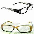 READING GLASSES Women's Etched READERS Slim Rectangle Frame Quality Attractive