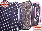 NEW PINK BLUE LEOPARD SADDLE CLOTH NUMNAH BRUSHING BOOTS FLY BONNET HEADCOLLAR