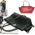CELEBRITY GOLD ROCK STUDS DOUBLE SMALL SHOPPER TOTE HANDBAG REAL COWHIDE LEATHER