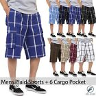 Mens PLAID SHORTS Cargo Pants Multi pockets light weight S 5XL Slim Checkered