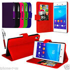 6 Colour Leather Wallet Flip Phone Case Cover For Sony Xperia M4 Aqua Free Pen