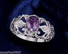 Sterling Silver Oval Genuine Amethyst Ring Gift Boxed